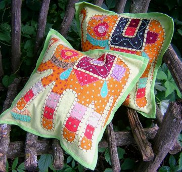 Patchwork Elephant Pillow Cover - Green