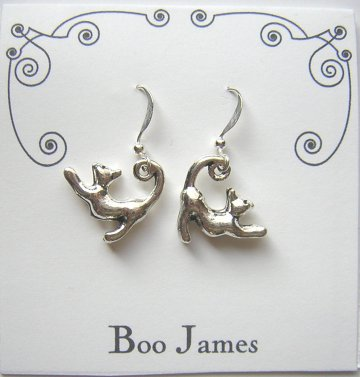 Charm Earrings - Stretching Cats