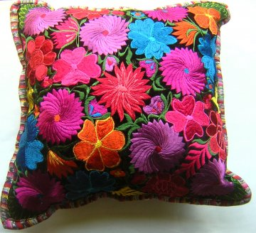 Embroidered Black Velvet Pillow - Flowers 1