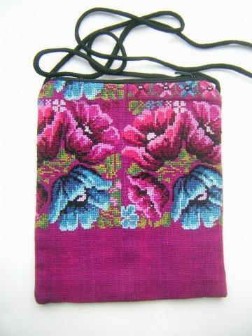 Pocket Bag 2 Zipper - Magenta Flowers