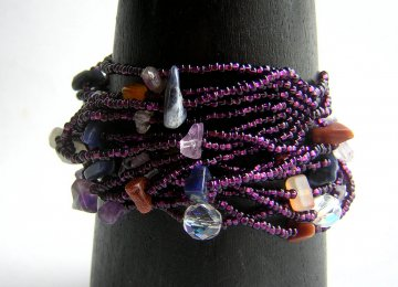 Wrist Wrap - Claret with Asst. Stones and Crystals