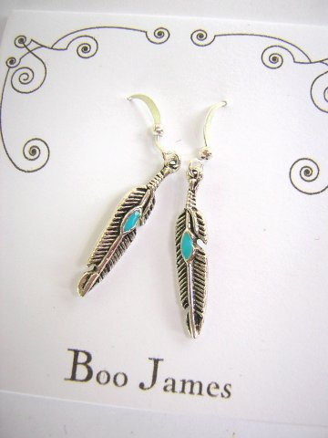 Charm Earrings - Turquoise Feather