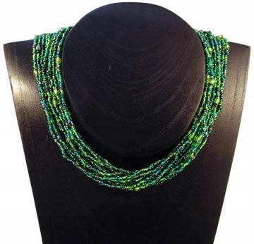 12 Strand Collar Necklace - Emerald Tweed
