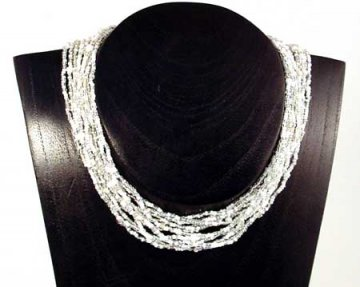 12 Strand Collar Necklace - Ice Tweed