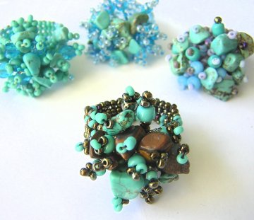 Stone Cluster Ring - Turquoise Assorted