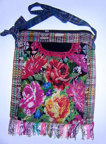 Huipil Bag -  Large Square Chichicastenango  Flowers 8