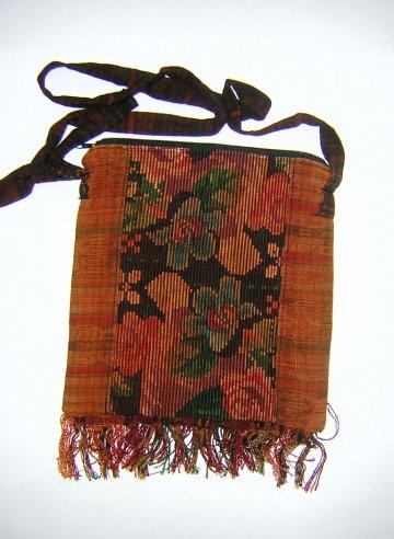 Huipil Bag -  Small Square Chichicastenango  Rust Flowers 7