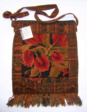 Huipil Bag -  Large Square Chichicastenango   Rust  Tulips