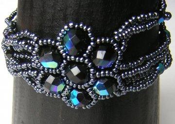 Crystal Flower Multistrand Bracelet - Pewter