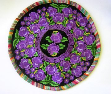 Round Huipil Pillow - Purple Flowers on Velvet
