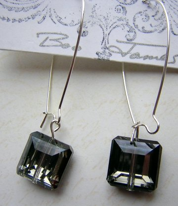 Crystal Square Earrings - Pewter
