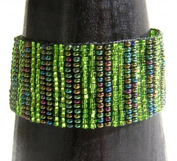 Medium - Stripe Woven Bracelet - Green