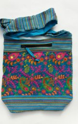 Tote Bag with Embroidered Velvet - Turquoise