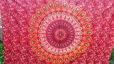 Peacock Mandala Wall Hanging - Red