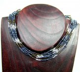6 Strand Collar Necklace - Striped Mixed Metallics