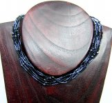 6 Strand Collar Necklace - Striped Black/Pewter