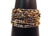 12 Strand Bracelet - Silver & Gold Tweed