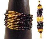 12 Strand Bracelet - Striped - Gold Black