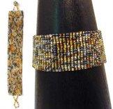 Medium Woven Bracelet - Silver & Gold Tweed