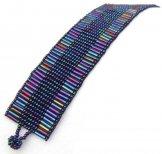 Medium - Bugle Bead Woven Bracelet - Blue Metallic
