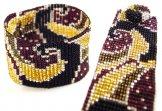 Milan Wave Woven Bracelet - Black Gold Claret
