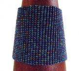 Wide Woven Bracelet - Blue Metallic