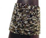 Wide Woven Bracelet - Salt, Pepper & Bronze Tweed