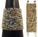 Wide Woven Bracelet - Silver & Gold Tweed