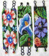 Wide - Pattern Woven Bracelet - Flowers - Assorted