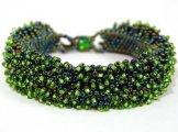 Caterpillar Bracelet - Green Metallic with Leaf Tip