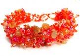 Stone Caterpillar Bracelet - Carnelian Orange