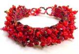 Stone Caterpillar Bracelet - Red
