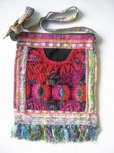 Huipil Bag -  Med Square Chichicastenango Pattern in Pink ***SOLD***