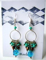 Crystal Beaded Hoops - Turquoise