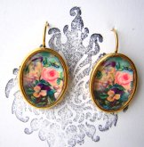 Victorian Floral Earrings - Gold