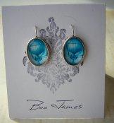 Blue Balloon Earrings - Oval Silver
