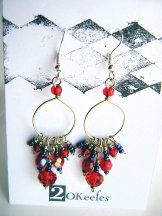 Crystal Beaded Hoops - Red