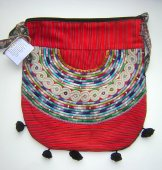 Huipil Bag -  Large Half Moon Joyabaj Red 10