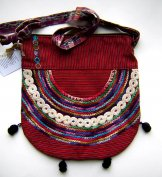Huipil Bag - Medium Half Moon Joyabaj Red 6