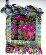 Huipil Bag -  Large Square Chichicastenango   Roses 2