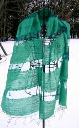 Silk Scarf - Shadow Weave - Caribbean Green