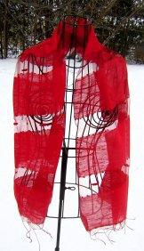 Silk Scarf - Shadow Weave - Red
