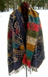 Wool Tapestry Shawl - Black
