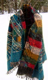 Wool Tapestry Shawl - Turquoise