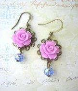 Vintage Rose Earrings - Lavender Blue