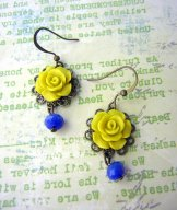 Vintage Rose Earrings - Chartreuse and Blue