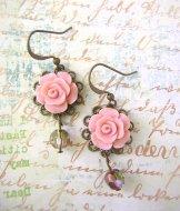 Vintage Rose Earrings - Blush Crystal