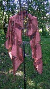 Silk Scarf - Shadow Weave - Chestnut Brown