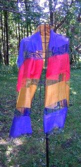 Silk Scarf - Shadow Weave - Ombre Stripe Regatta