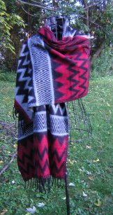 Navajo Wool Shawl - Black & Red
